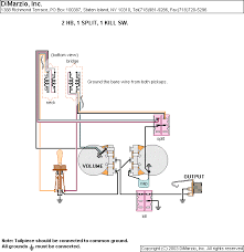 wiring diagrams dimarzio Dimarzio Wiring Schematic Model One 2 humbucker, 1 volume, 1 tone, 1 dpdt (kill switch), 1 dpdt (split neck & bridge); neck & bridge, bridge DiMarzio Wiring Colors