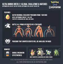 Ultra Bonus Week 2: Global Challenges & Hatches - Events - Pokemon GO -  ARSpoofing