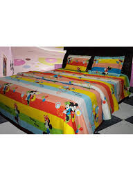 3 piece mickey mouse printed bedding set cotton multicolour double
