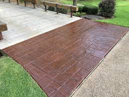 Stained stamped concrete with acrylic urethane sealer