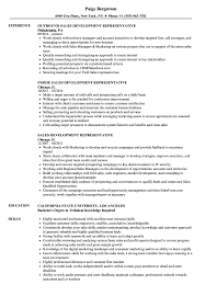 Sales Development Representative Resume Samples Velvet Jobs