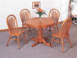 nostalgia 5 piece 42 inch round dining set with windsor chairs in light oak finish by