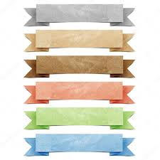 Header origami tag recycled paper craft stick on white background ...