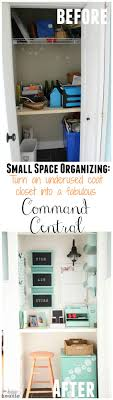 small space organizing turn an underused coat closet into a fabulous command center before and after catch office space organized