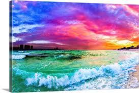 purple blue sunset ocean wave beautiful