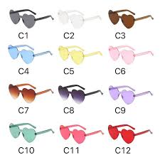 <b>2019 Hot</b> Heart Shape Fashion Sunglasses <b>12 Colors</b> Candy <b>Colors</b>