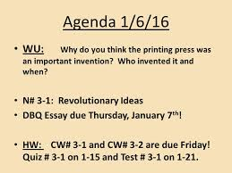 agenda wu what was the columbian exchange reading packet  4 agenda