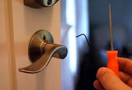 use a pick hex wrench or paperclip to flip a lever handle