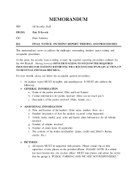 Copy Of Incident Report Incident Report Writing And Procedures Memorandum 06 15 2016
