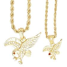 iced out bling mini pendant chain set 2 x eagle gold pendants iced out biz