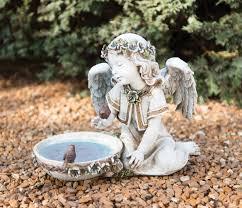 angel garden statues. seated garden angel with solar light bird bath statue 10\u201c [gar4003] statues