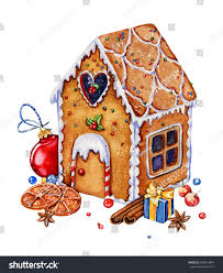 gingerbread house clipart background.  Clipart Gingerbread House With Christmas Decorations Isolated On A White Background  Watercolor Illustration Candies With House Clipart Background
