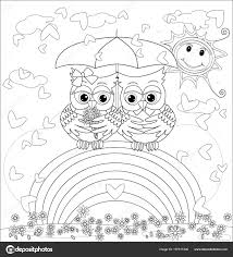 Coloring Book Adult Older Children Coloring Page Cute Owls Rainbow