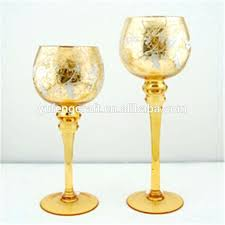gold glass candle holders gold mercury glass gold mercury glass goblet holiday candle holder set from