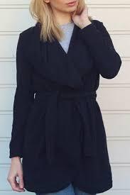 <b>Chic</b> Turn-Down Collar <b>Long Sleeve Pure</b> Color Irregular Hem Coat ...