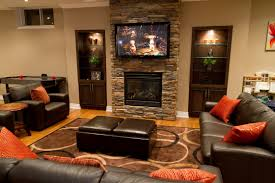interior beautiful beige home theater room come with fireplace