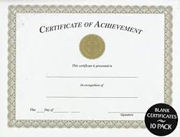 Printable Achievement Certificates Amazon Com Certificate Of Achievement Blank 10 Pack Office Products
