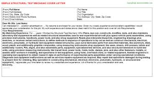 structural test mechanic cover letter draftsman cover letter