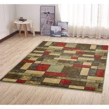 ottomanson ottohome collection contemporary boxes design multi 5 ft x 7 ft area rug