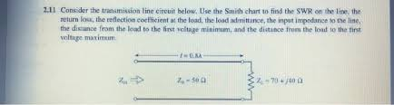 Swr Loss Chart Solved 2 11 Consider The Transmission Line Eircuit Below