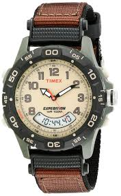 timex expedition men s t45181 quartz watch beige dial timex expedition men s t45181 quartz watch beige dial analogue display and brown nylon strap timex amazon co uk watches