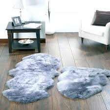 R Grey Faux Sheepskin Rug Zoom Fur Dark