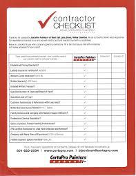 Contractor Checklist Business Proposal Checklist Bid Templates Construction Template Free