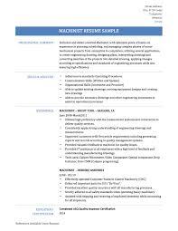 Cnc Service Engineer Sample Resume 18 Winsome Design Machinist 4