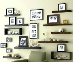 family wall decor ideas wall decorations ideas install wooden shelves and family framed photos as brilliant