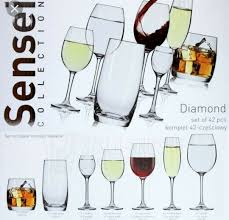 Diamond Crystal Glass Glass Glass Set Boxed Krosno Sensei