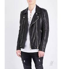 leather jackets fashion balmain men balmain blouson leather biker jacket black g113p