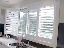 wood plantation shutters for kitchen