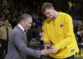 timofey mozgov. Wonderful Timofey Cavaliers Coach Tyronn Lue Presents Timofey Mozgov His Championship Ring  Before Clevelandu0027s Game Against The LA For O