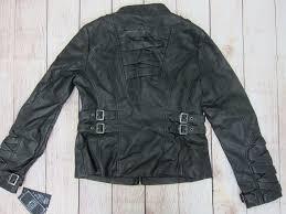 blanc noir women s faux leather zip front jacket large black nwt