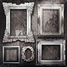 silver antique picture frames. These #vintage Picture #frames Are Silver Over A Wood Textured Background. Antique Frames