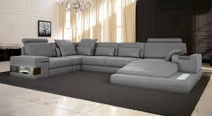 Hausdesign Sofa Grau Leder Wohnlandschaft Big Ecksofa