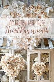 diy neutral farmhouse heart rag wreath neutral rag wreath farmhouse wreath