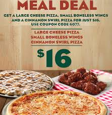 Papa Ginos 16 Meal Deal Large Cheese Pizza Small Boneless