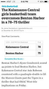 """Hajj Flemings on Twitter: """"#BoxScore: @Miss_KaliG (20pts) & @KysreRae  (44pts) go for 64 of their teams 75pts! #toughlost 2 Kalamazoo Central!  http://t.co/SRxDfrLkj4"""""""