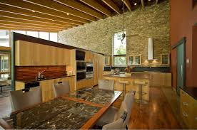 Kitchen Floor Stone Natural Kitchen Ideas With Stone Wall Decoration And Wooden Floor