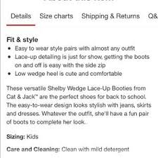 Cat And Jack Size Chart Boy Cat Jack Shelby Lace Up Wedge Bootie Nwt Nwt