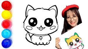 Vẽ và tô màu Con Mèo Đáng Yêu - Cute Cat drawing and coloring pages for  kids - YouTube