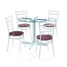 stainless steel dining table glass top vinod dinner set wonderful round with four chrome metal base equipped chairs din wicker rattan room maple