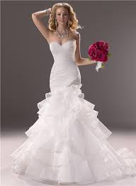 sweetheart fit and flare layered organza wedding dress with ruffles