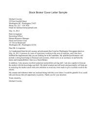 Stock Broker Cover Letter Sample Insurance Underwriter Cover Letter