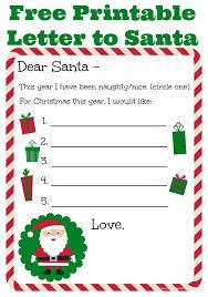Letter To Santa Free Printable Christmas Letter
