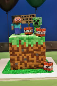 Dirt block cake with paper figures 580x870 12 amazing minecraft birthday cakes catch my party on birthday cake ideas for minecraft
