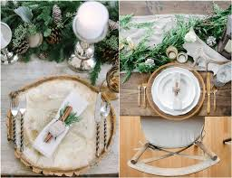 Rustic winter table place setting decor