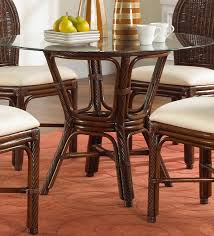 key largo indoor rattan wicker round dining table in antique finish with 42 glass