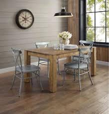 Wooden and metal chairs Farmhouse Image Is Loading Rusticwoodfarmhousediningtableindustrialsilvermetal Ebay Rustic Wood Farmhouse Dining Table Industrial Silver Metal Chair